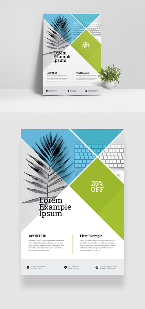 Minimal Business Flyer Layout with Green Accents 334210067