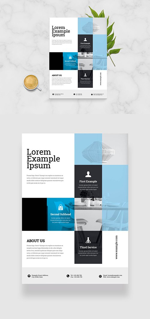 Flyer Layout with Blue Overlay Elements 334210095