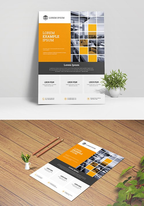 Business Flyer Layout with Yellow Accents 334526171