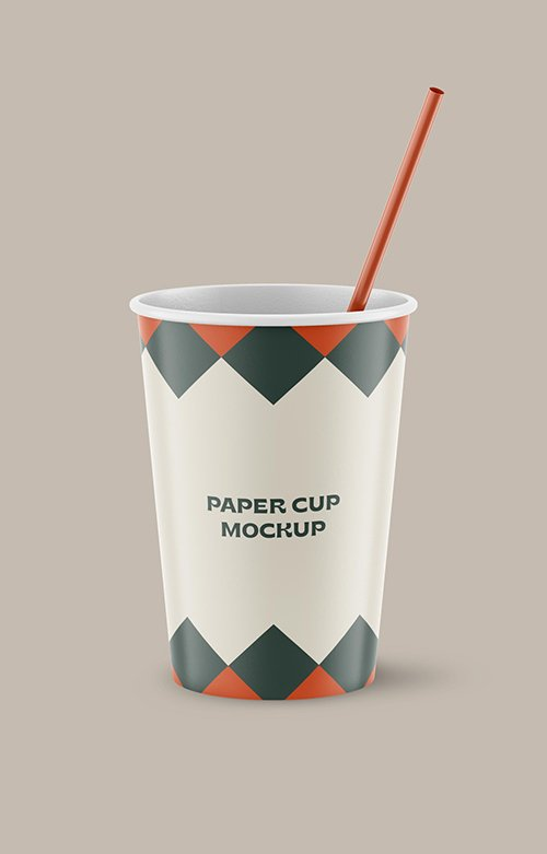 Realistic Paper Cup with Straw Mockup 334547815