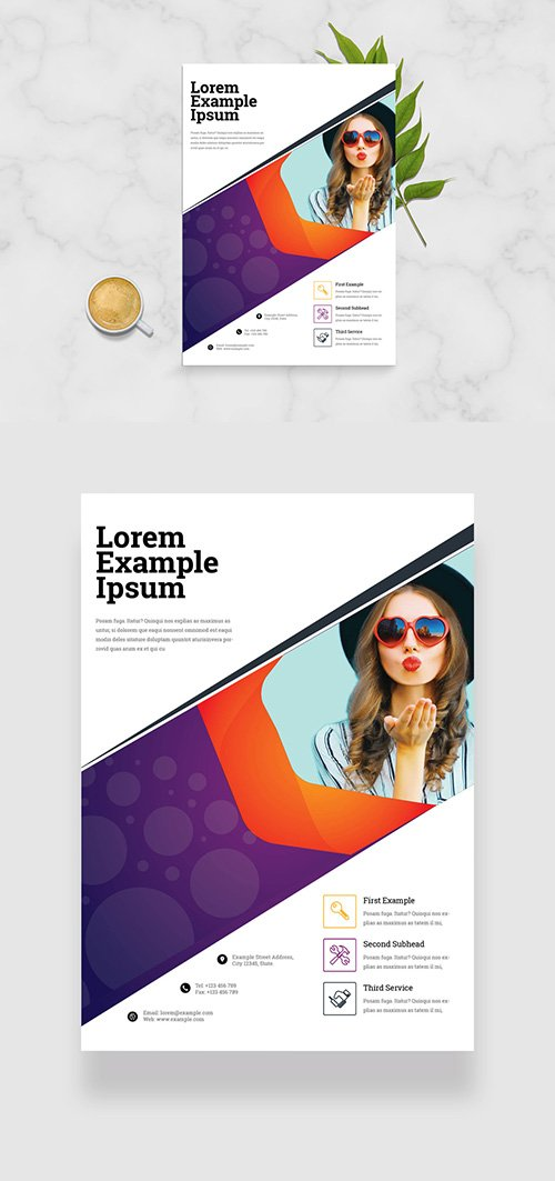 Business Flyer Layout with Purple and Orange Accents 334210098