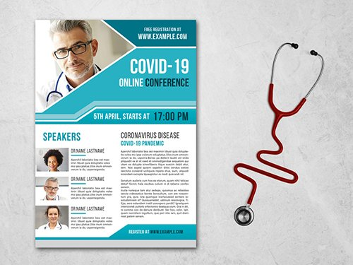 Coronavirus Flyer Layout with Teal Accents 334538271