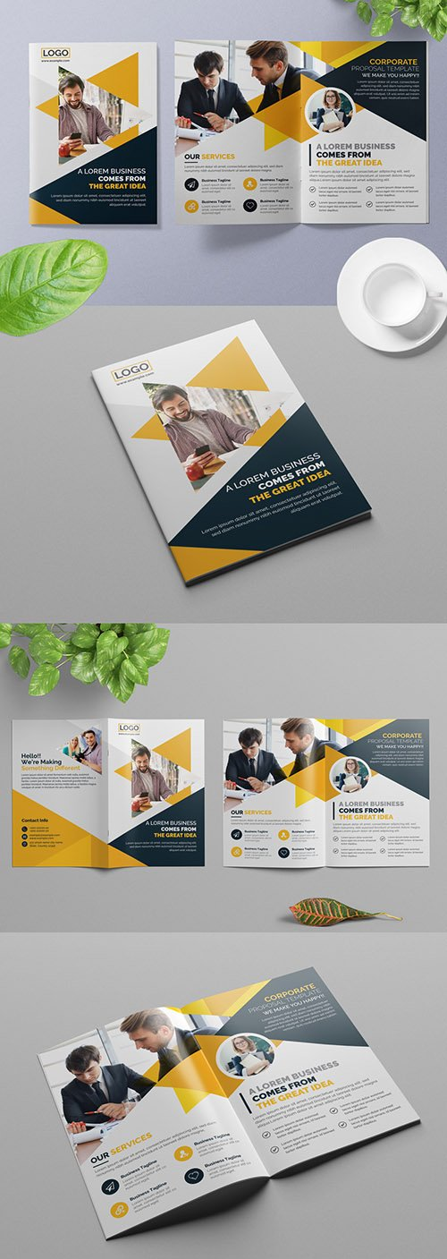 Bifold Business Brochure Layout with Orange Geometric Elements 309429232