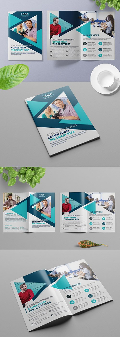 Bifold Business Brochure Layout with Blue Geometric Design Elements 309429162