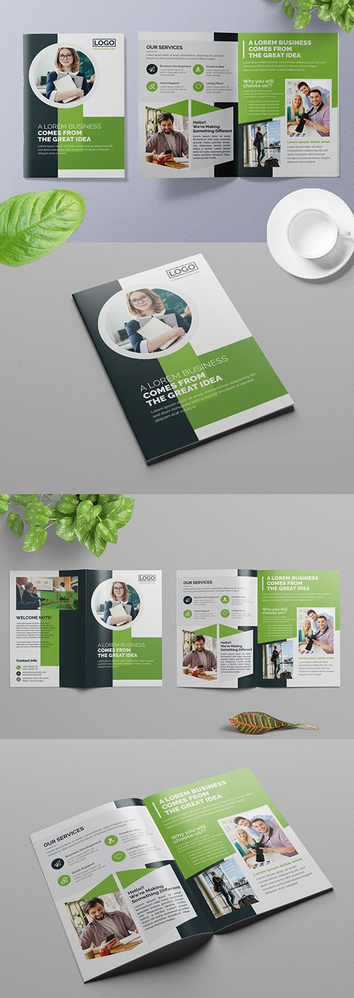 Bifold Business Brochure Layout with Green Accents 309429203