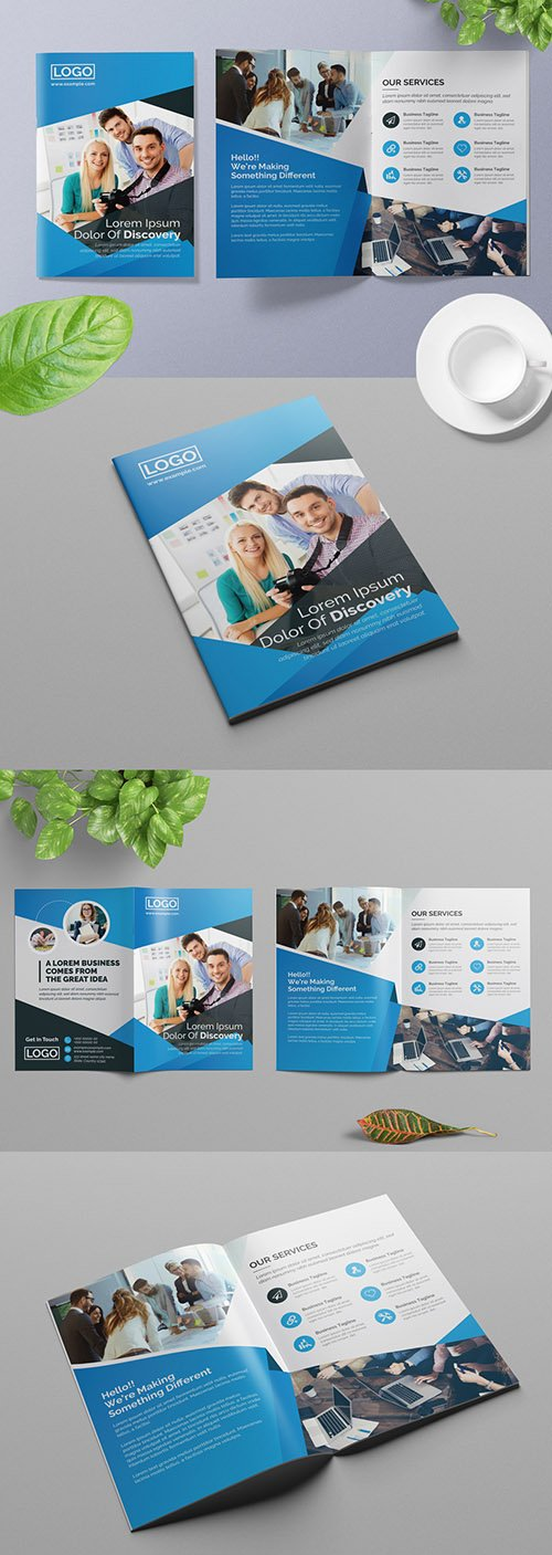 Business Brochure Layout with Blue Accents 309429138
