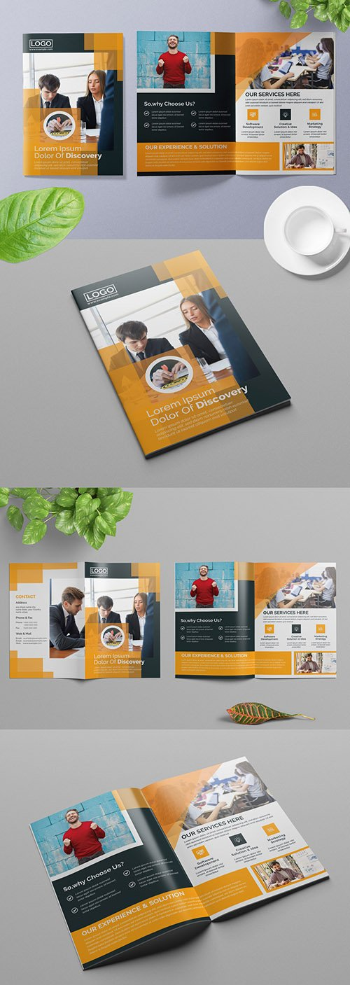 Bifold Business Brochure Layout with Orange Accents 309429040