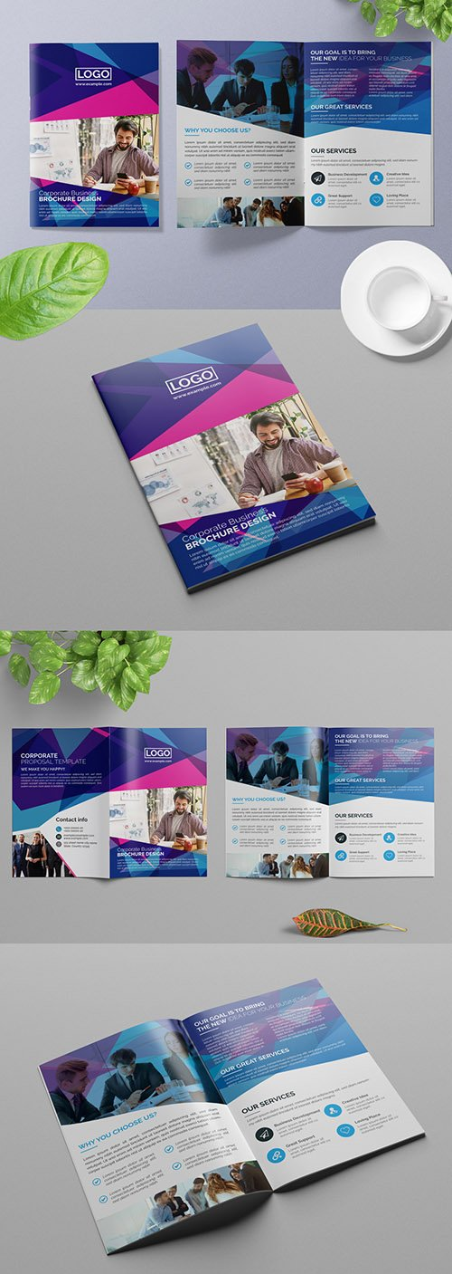 Bifold Business Brochure Layout with Geometric Elements 309428880