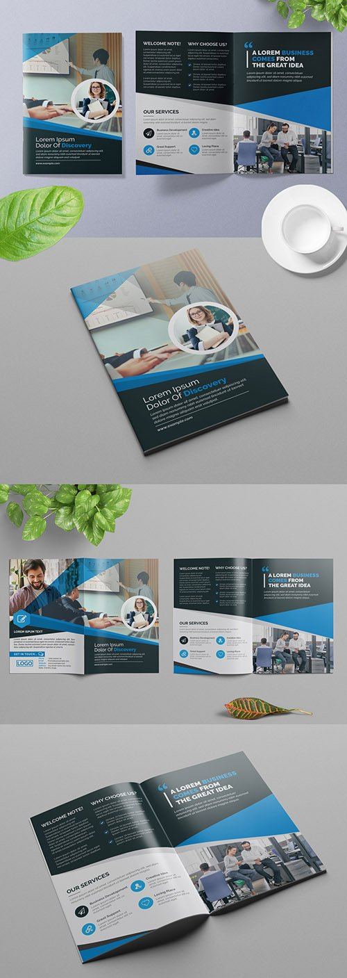 Bifold Business Brochure Layout with Blue Geometric Design Elements 309429176