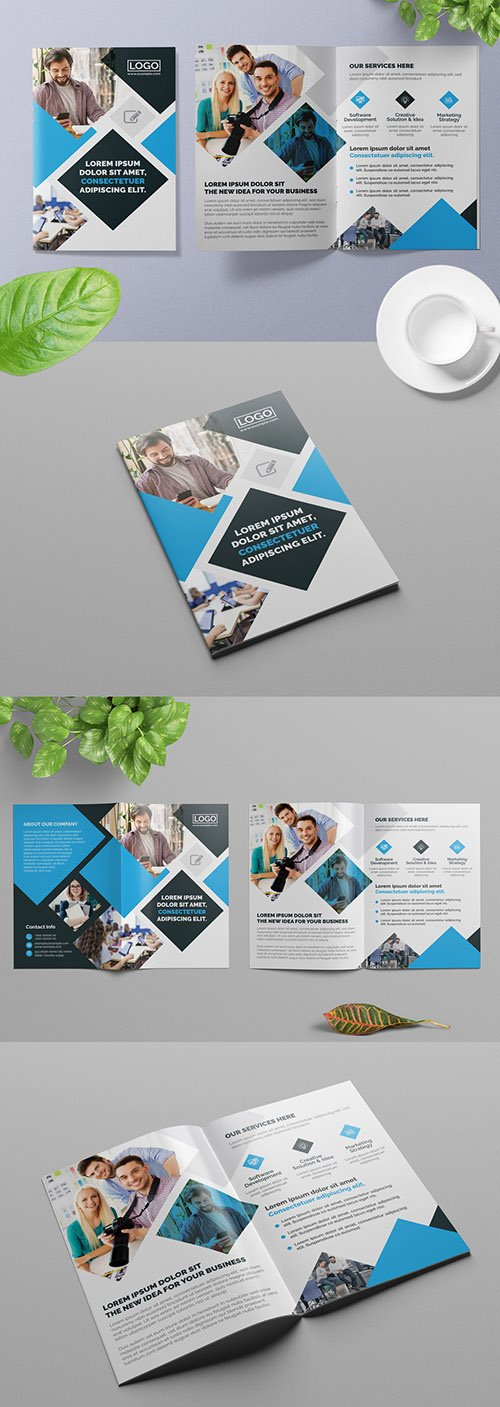 Dark Blue Bifold Business Brochure Layout with Light Blue Accents 309429041