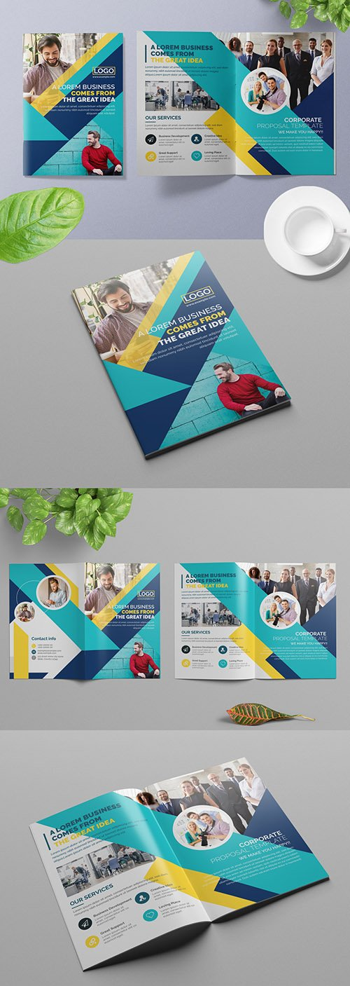 Business Brochure Layout with Blue and Yellow Geometric Elements 309429249