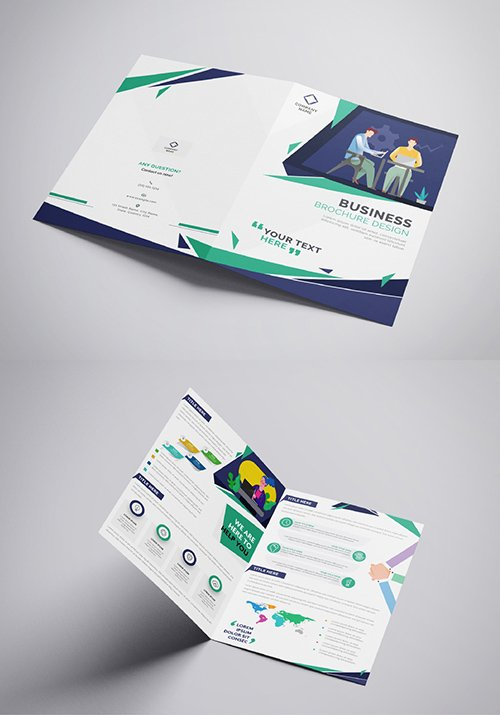 Green and Blue Business Brochure Layout 321102545