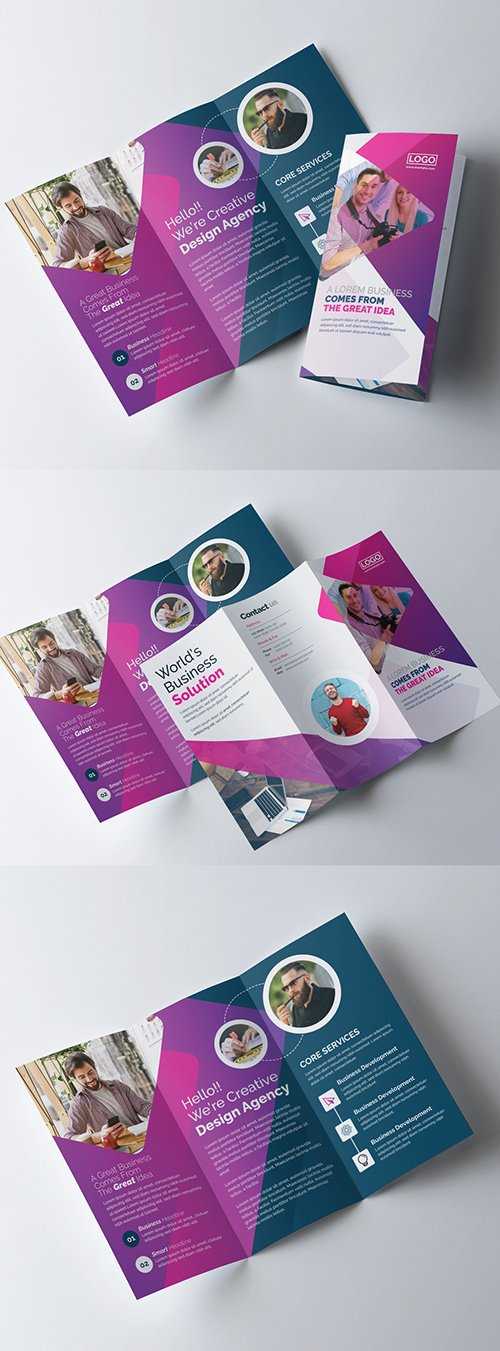 Gradient Trifold Brochure Layout with Purple Accents 323752731