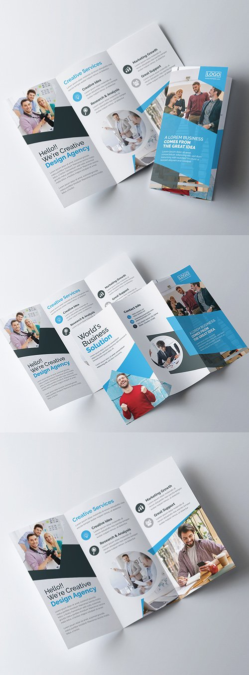 Creative Trifold Brochure Layout with Blue Color Accents