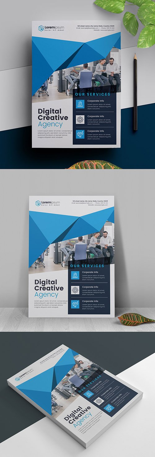Blue Abstract Flyer Layout 317788465