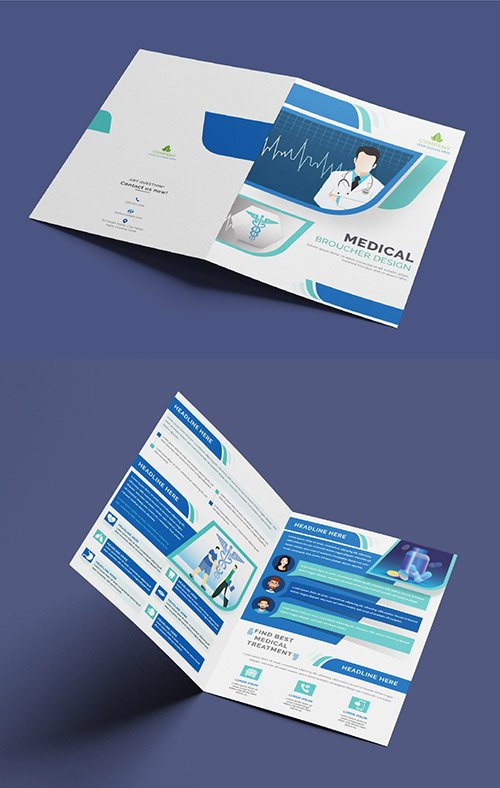 Blue and Green Brochure Layout with Medical Illustrations 321102482