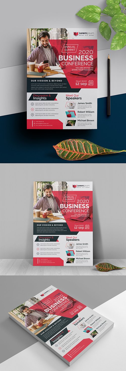 Annual Meeting Conference Flyer with Red Accents 323752660