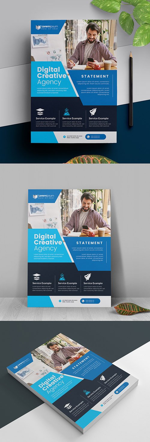 Blue and Dark Business Flyer Layout 317788475