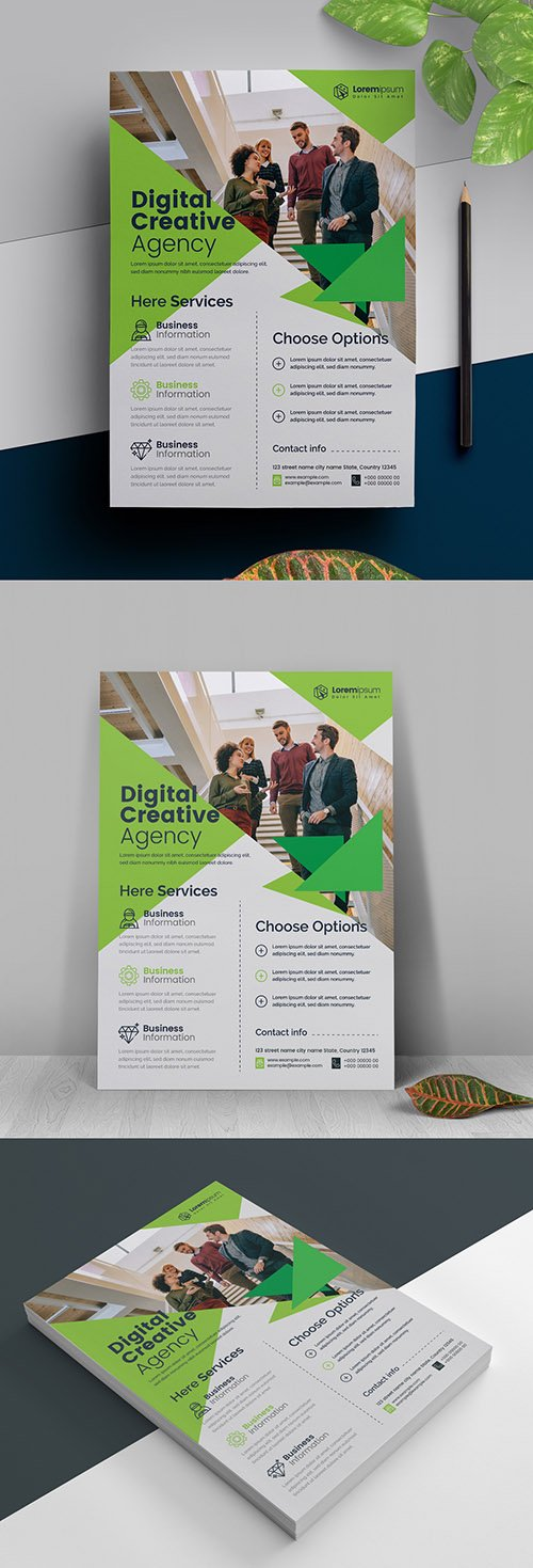 Business Flyer with Green Accents 317788470