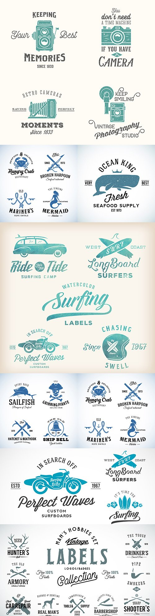 Vintage logo and template with retro typography men 's hobbies