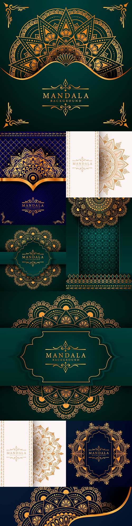 Mandala creative luxury blue and green design background 5