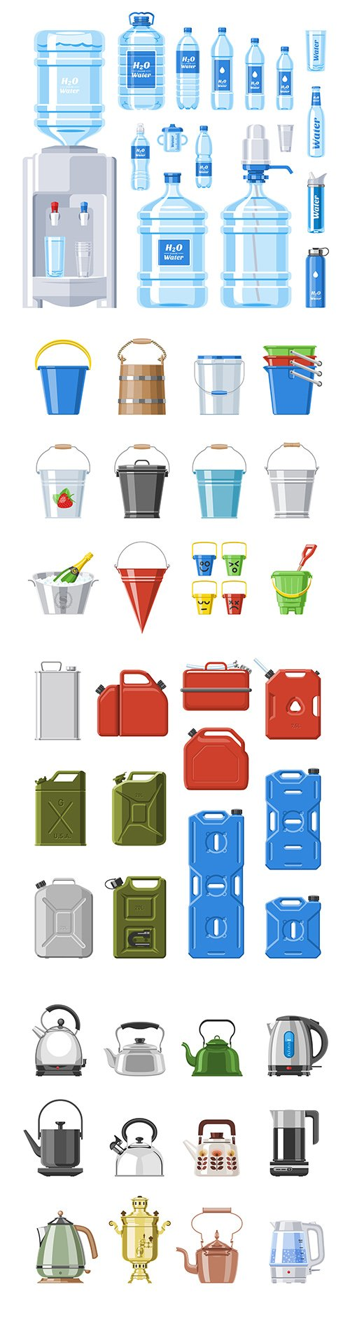Bottle water, bucket and kettle collection vector illustrations
