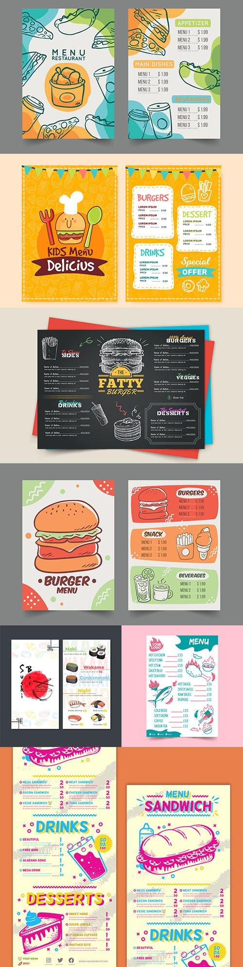Fast food and children's menu cafe design illustration