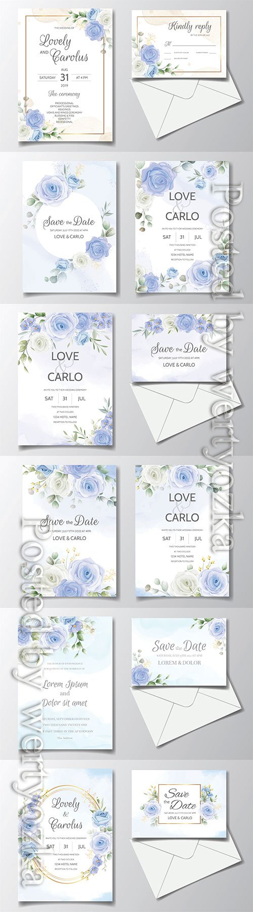 Vintage wedding invitation with blue roses in vector
