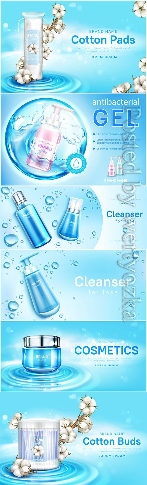 Cosmetic care products advertising poster in vector