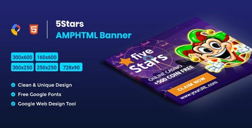 CodeCanyon - 5 Stars AMPHTML Banners Ads Template v1.0 - 26340513