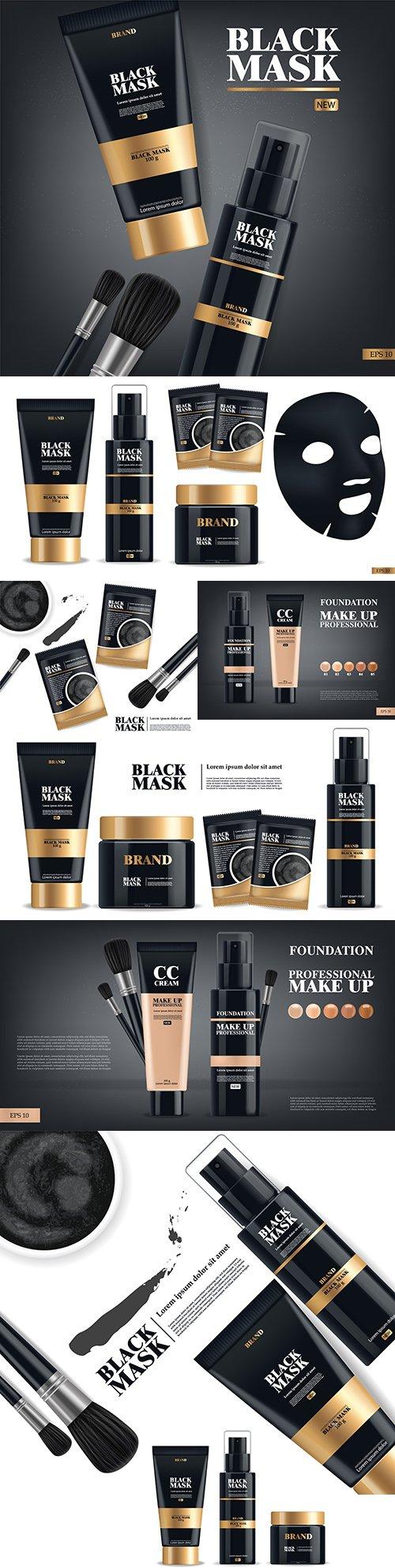 Realistic black mask and tonal makeup cream