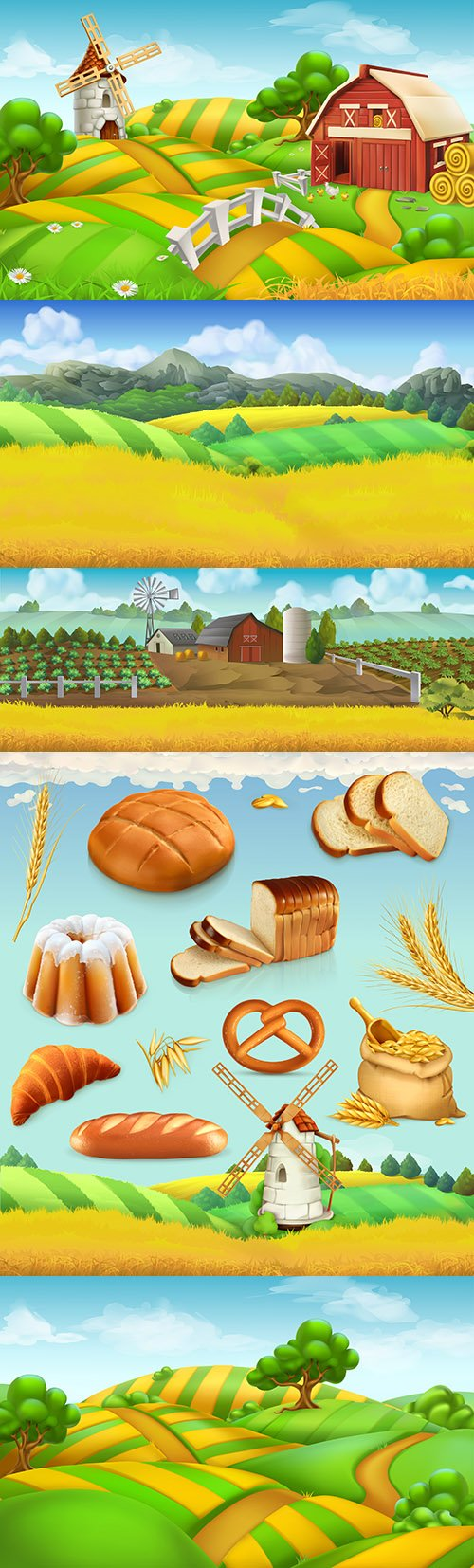 Farm field landscape and wheat with bread 3d illustrations