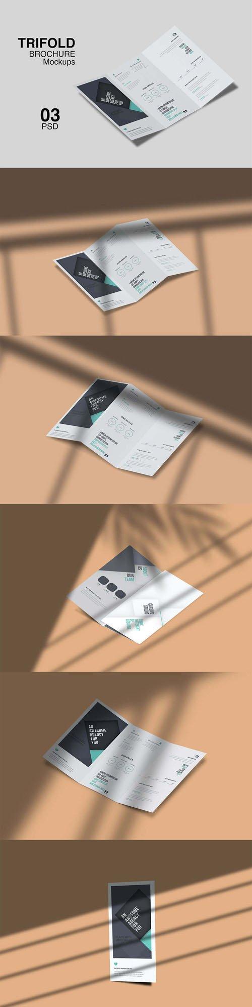 Tri-fold Brochure PSD Mockups Pack