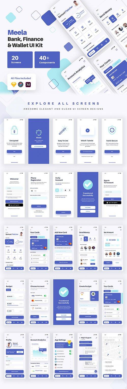 Meela - Money Transfer, Bank, Finance and Wallet App UI Kit