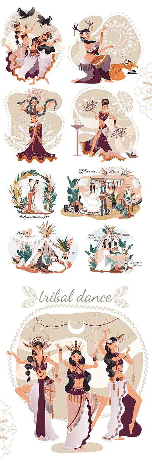 Boho-style wedding and beautiful female ritual dancing illustration