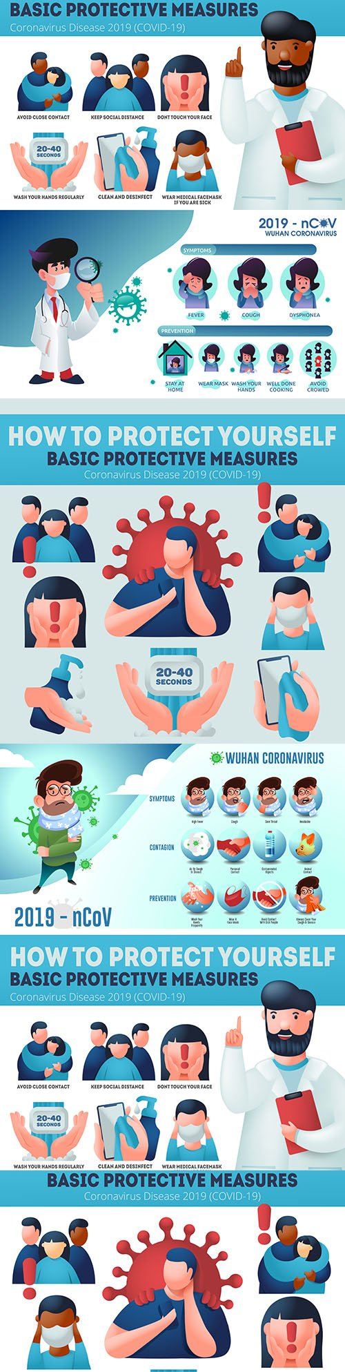 Coronavirus prevention covid-19 and infographic protection measures
