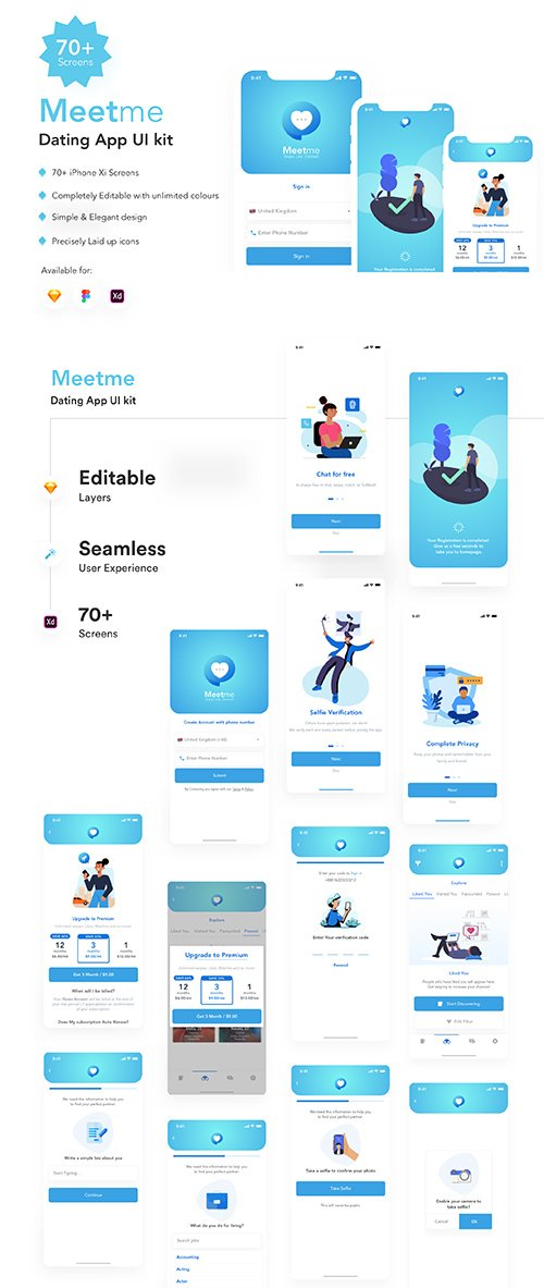 MeetMe Dating App UI Kit