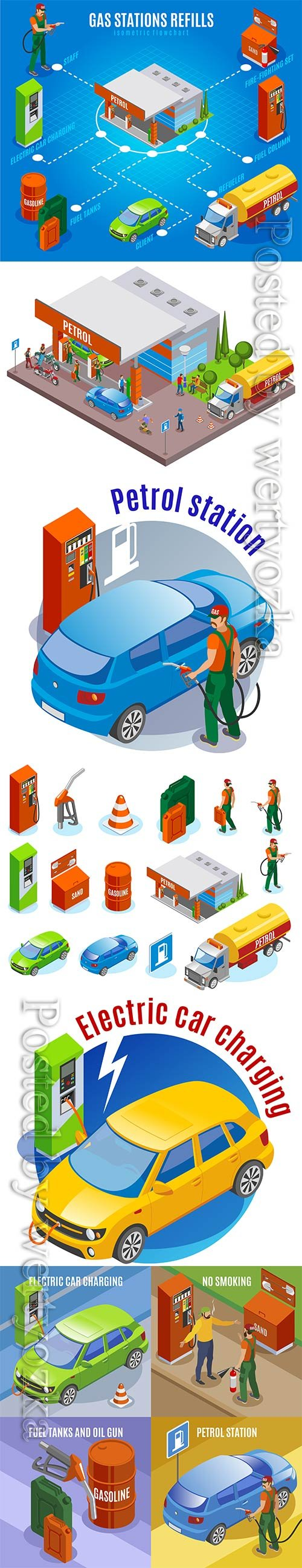 Refueling refills the isometric concept with compositions of automobile images of fuel tanks