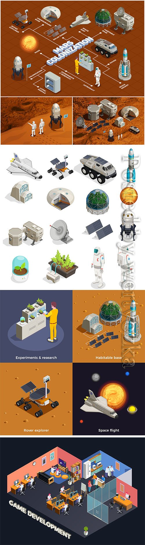 Space isometric set vector illustration template