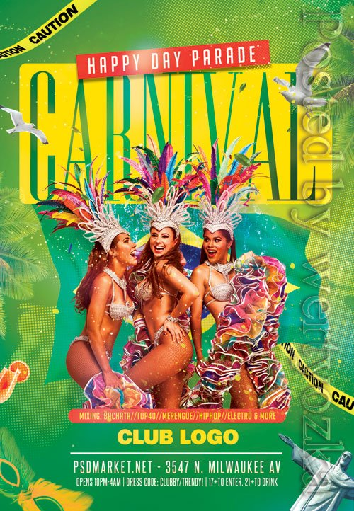 Carnival of brazil - Premium flyer psd template
