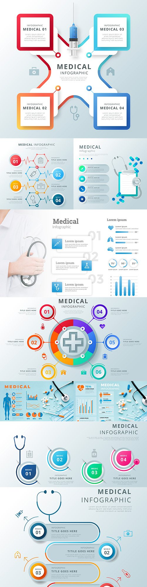 Medical infographics options elements collection