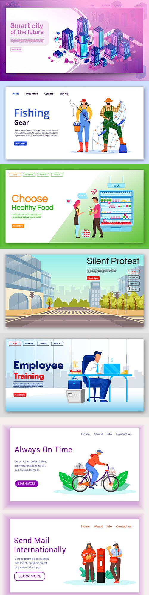 Home page layout interface with flat illustration design