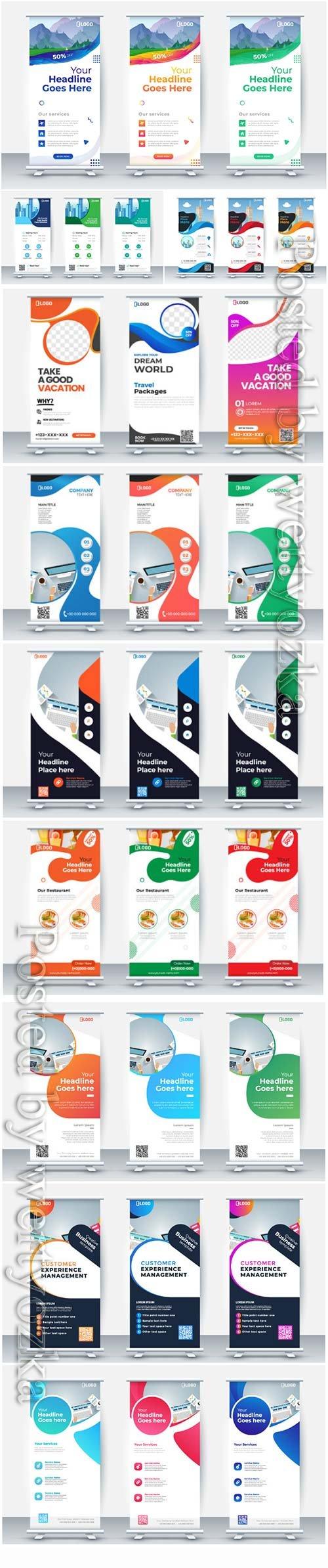 Business roll up banner, vector poster brochure flat design