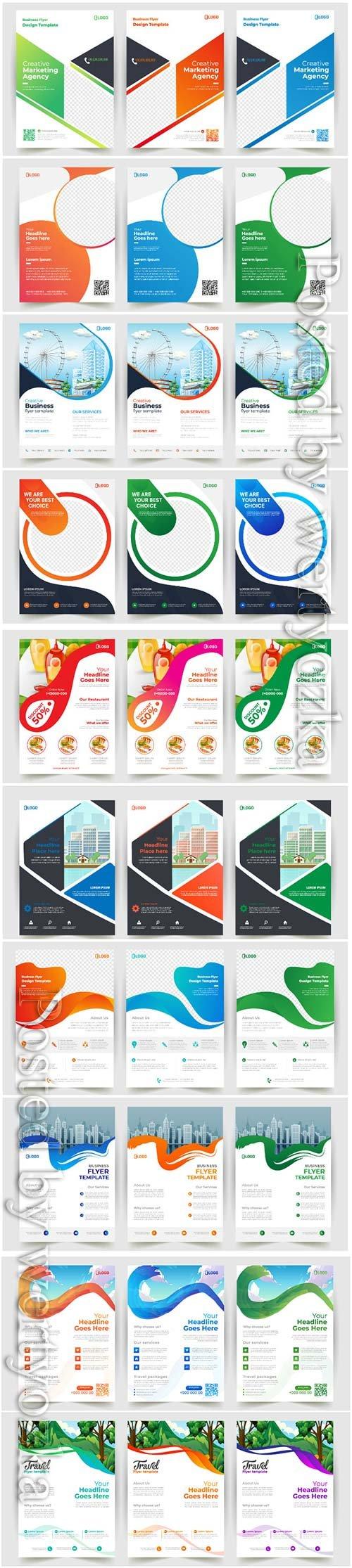 Business flyer vector template design with abstract concept