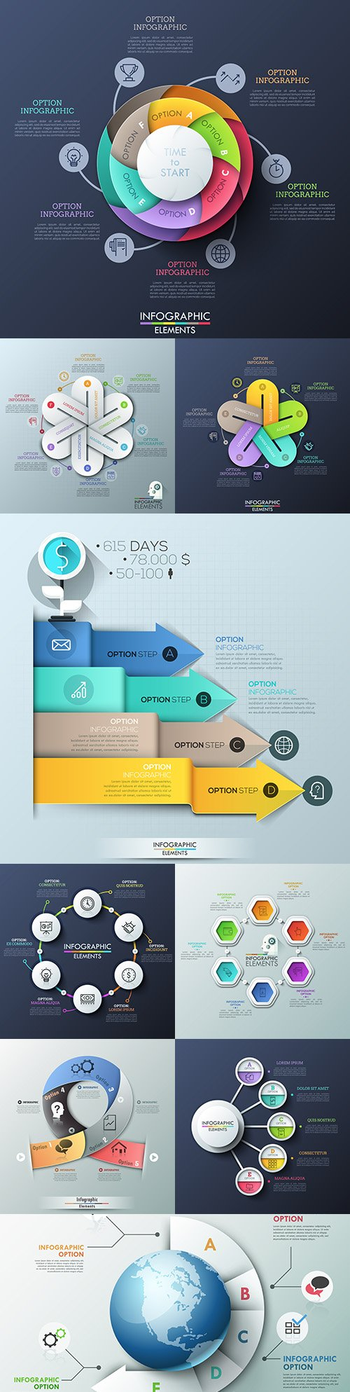 Business infographics options elements collection 148