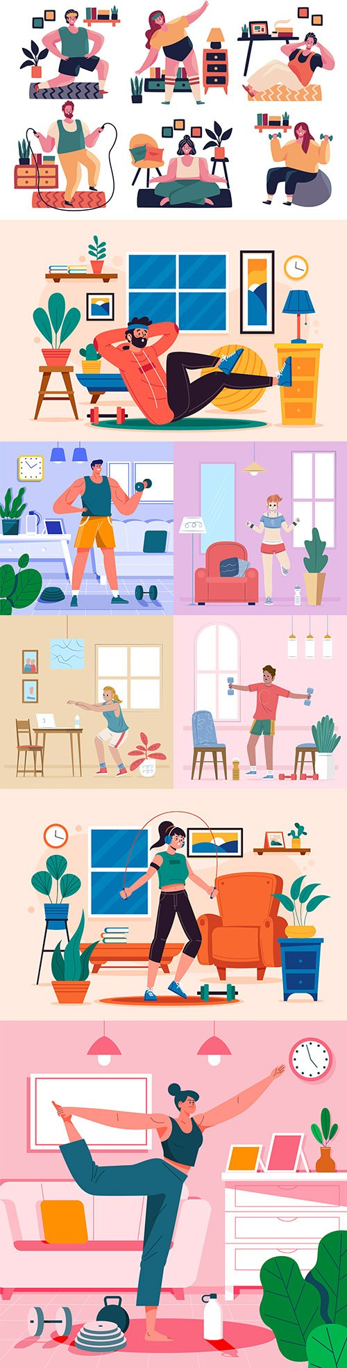 Teaching and sports at home concept illustrations