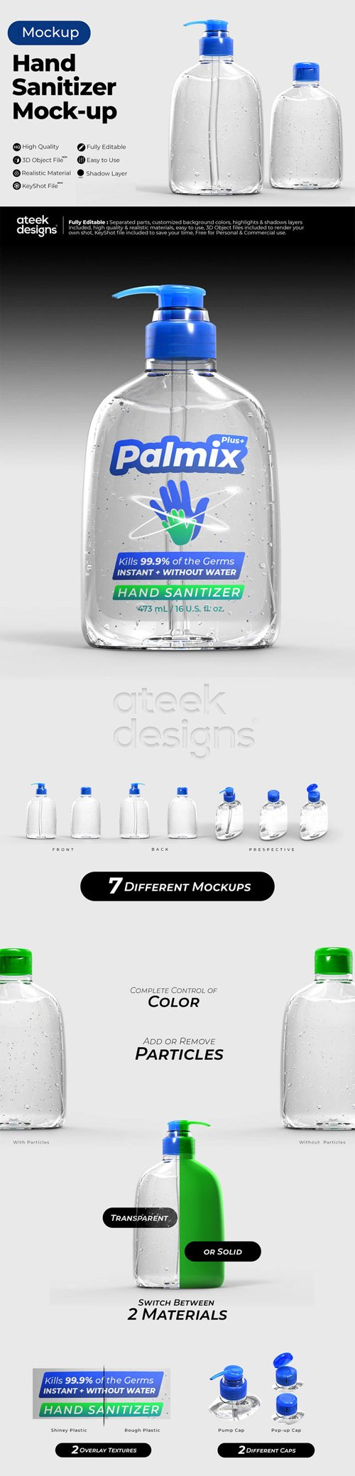 Hand Sanitizer Mockups for Cinema 4D & KeyShot