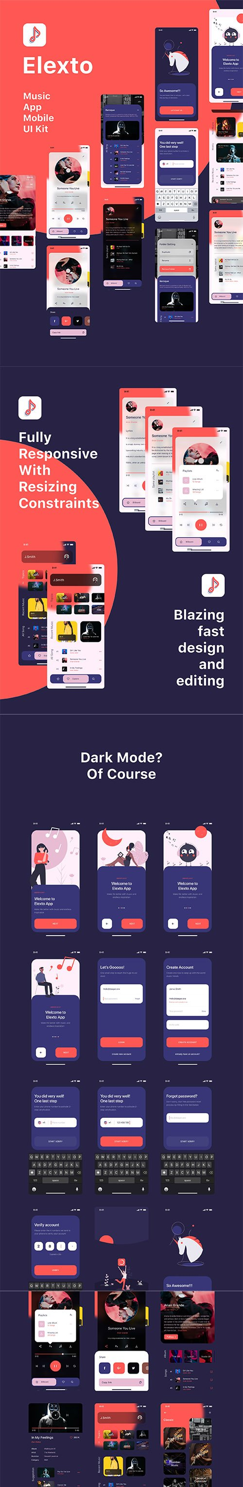 Elexto - Music App UI Kit