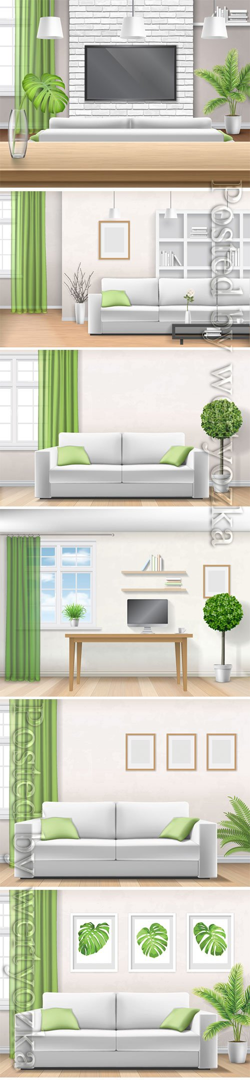 Realistic home interior vector template # 5