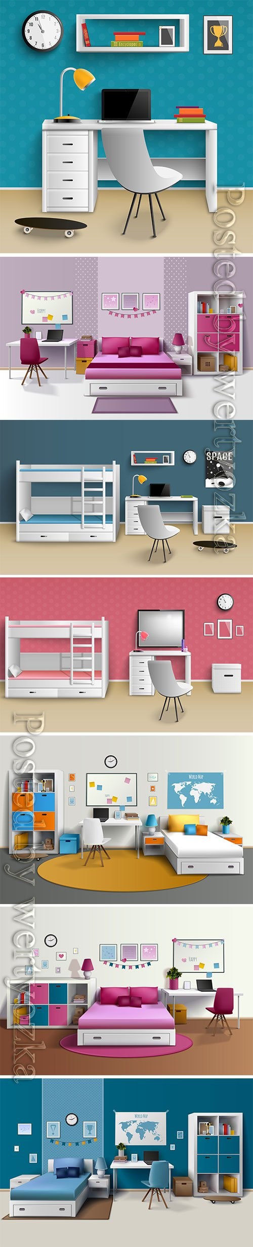 Realistic home interior vector template # 6